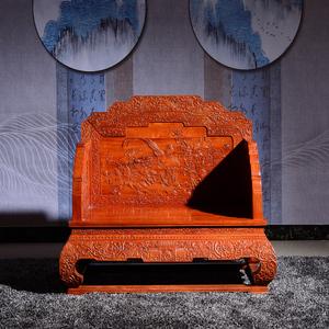 东阳红木家具缅甸花梨木大果紫檀荷花宝座沙发
